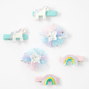 Claire's Club Pastel Rainbow Unicorn Hair Clips - 6 Pack,