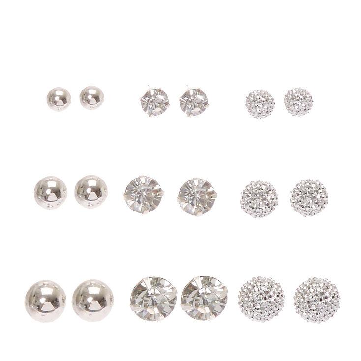 Silver-tone Graduated Bling Stud Earrings,