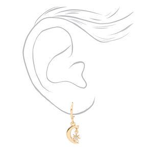 Parure de bijoux étoile rayonnante et croissant de lune couleur dorée - Lot de 2,