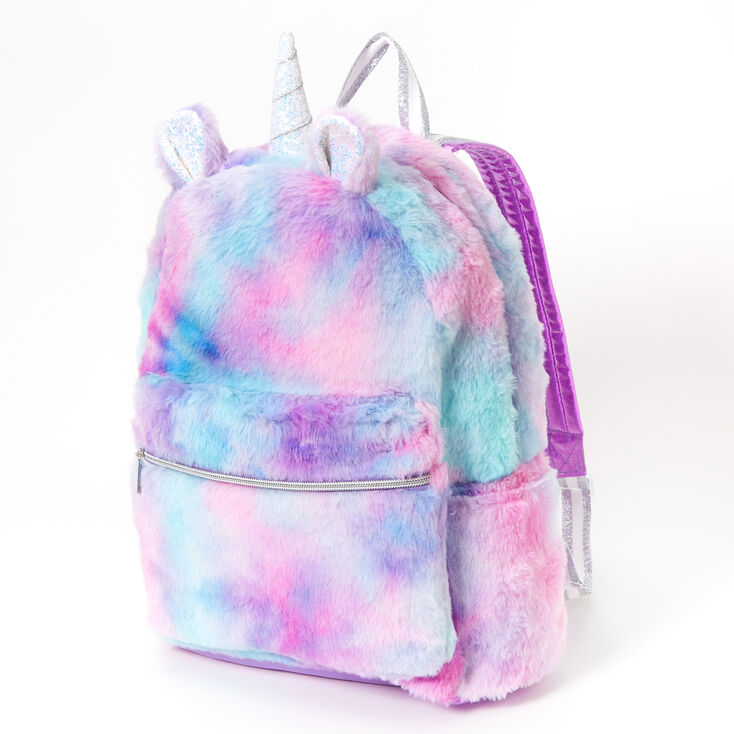 Pastel Tie Dye Plush Unicorn Medium Backpack,