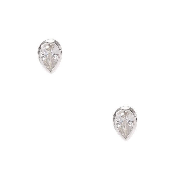 2c835b60d Sterling Silver Cubic Zirconia Teardrop Stud Earrings | Claire's