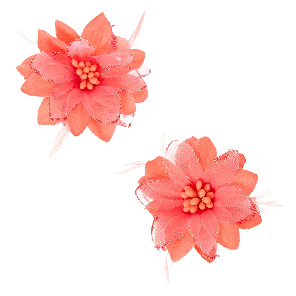 Claire/'s Girl/'s Lily Flower Feather Hair Clips Pale Pink 2 Pack
