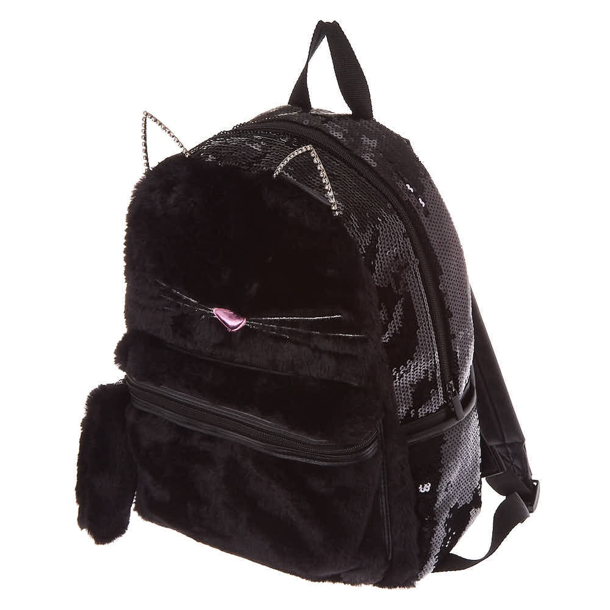 Fuzzy Sequin Cat Backpack Black Claire S Us