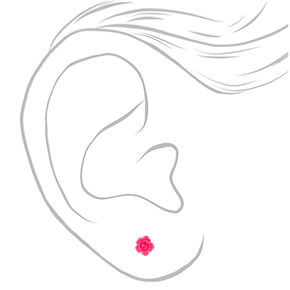 Neon Rose Stud Earrings - Pink,