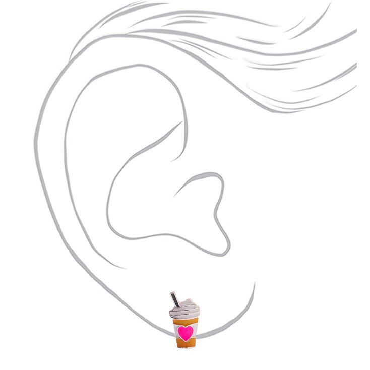Silver Frappuccino Heart Stud Earrings,