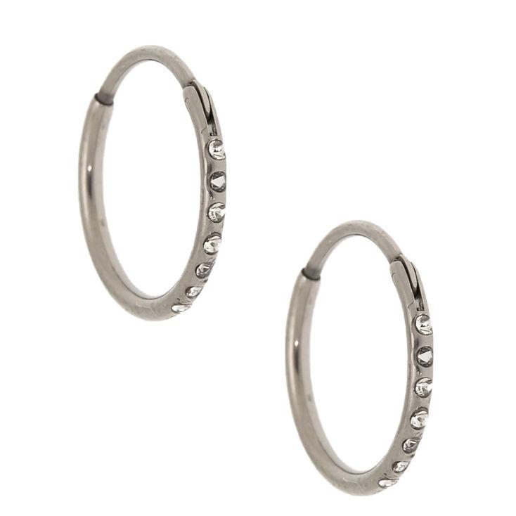 Silver Titanium 10MM Sleek Crystal Hoop Earrings,