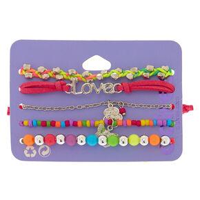 Neon Rainbow Bracelets - 5 Pack,
