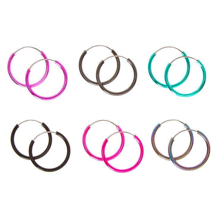 Mini Multi-coloured Metallic Hoop Earrings,