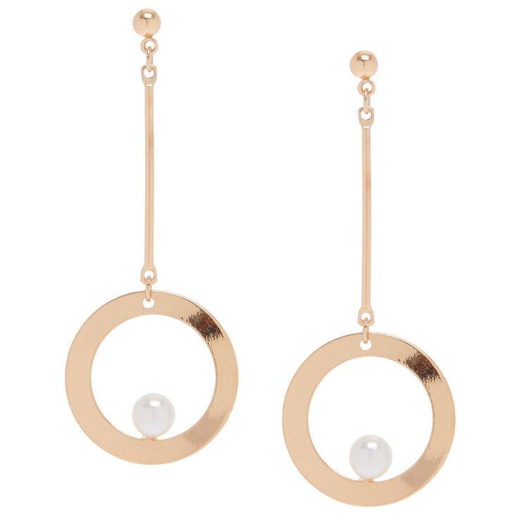 Rose Gold 2 5 Open Circle Drop Earrings
