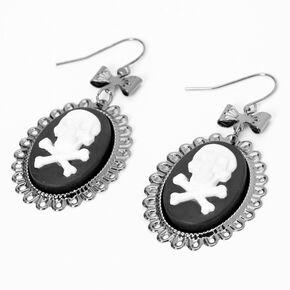 "Silver 2"" Victorian Skull Medallion Drop Earrings,"