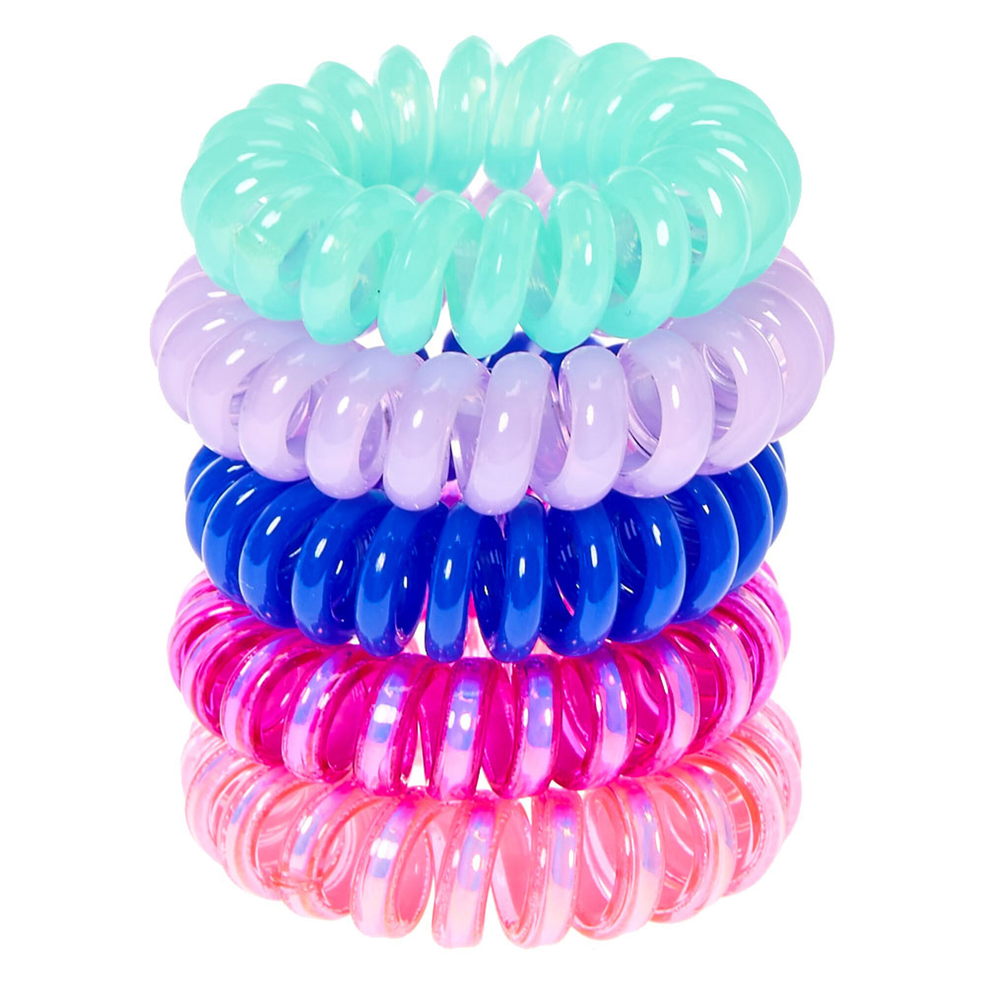 Pink Amp Blue Mini Coiled Hair Ties Claire S Us