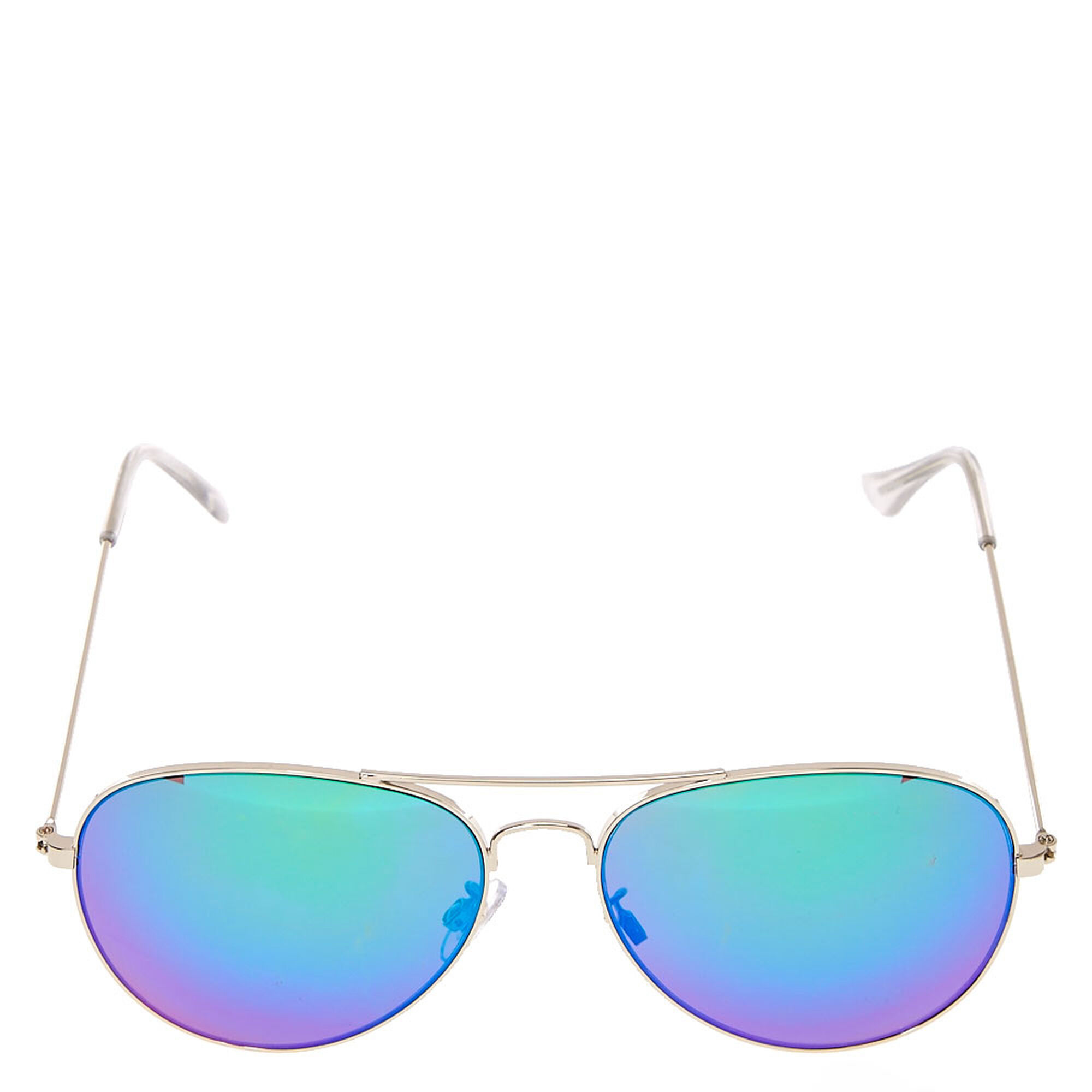 9b06a83ace ... Silver Toned Green Tinted Aviator Sunglasses