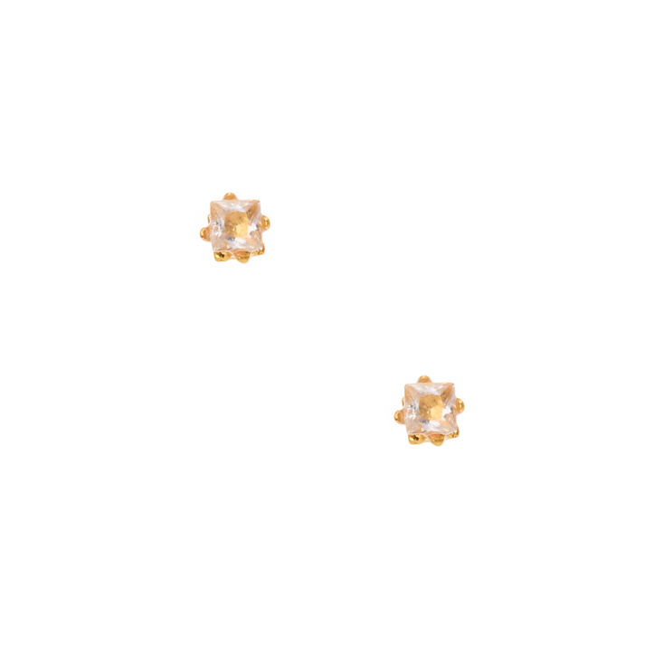 18kt Gold Plated Cubic Zirconia Square Stud Earrings - 2MM,