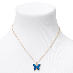 Gold Butterfly Mood Pendant Necklace,