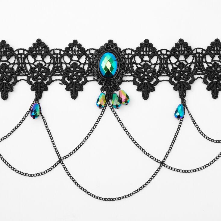 Lace Anodized Crystal Choker Necklace - Black,