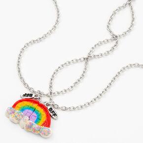 Best Friends Glitter Rainbow Split Pendant Necklaces - 2 Pack,