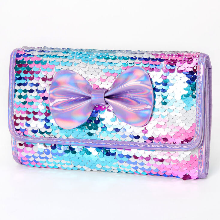 Reversible Sequin Bow Wallet - Purple,