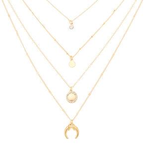 Gold Embellished Horn Multi Strand Necklace,
