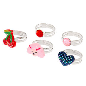 Claire's Club Heart Ring Set - 5 Pack,