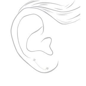 Clous d'oreille à chaîne carrés 3mm en zircon cubique d'imitation couleur argenté,