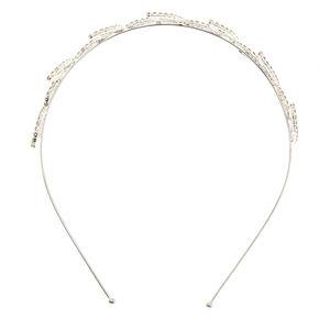 Silver Crystal Leaf Headband,