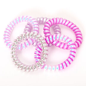 Claire's Club Spiral Hair Ties - Purple, 5 Pack,