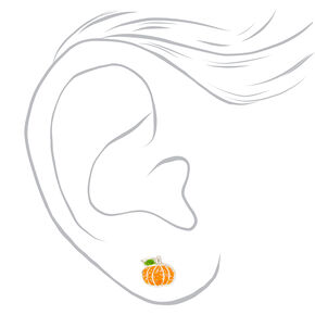 Sterling Silver Glitter Pumpkin Stud Earrings,