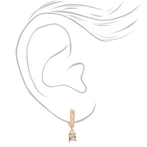 Gold 10MM Crystal Drop Huggie Hoop Earrings,