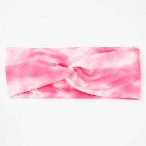 Bright Pink Tie Dye Twisted Headwrap,