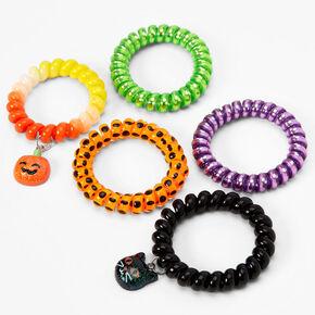 Halloween Charm Spiral Bracelets - 5 Pack,