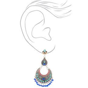 "Silver 3"" Vintage Beaded Filigree Drop Earrings - Blue,"