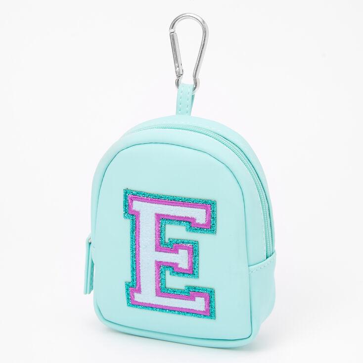 Mint Varsity Initial Mini Backpack Keychain - E,