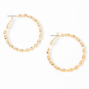Gold 40MM Twisted Textured Hoop Earrings,