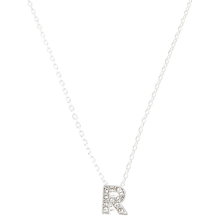 Silver Embellished Initial Pendant Necklace - R,