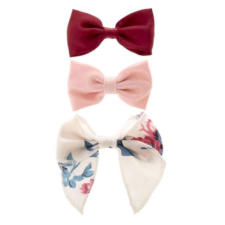 Floral Hair Bow Clips - Burgundy, 3 Pack,