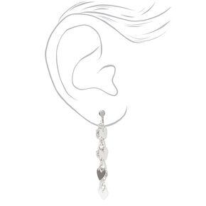 """Silver 3"""" Textured Heart Linear Clip On Drop Earrings,"""