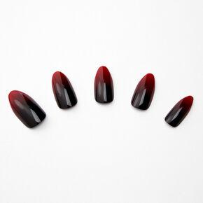 Faux ongles stiletto dégradé rouge et noir - Lot de 24,