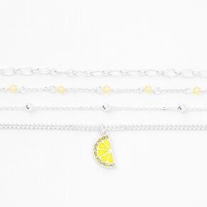 Silver Lemon Beaded Chain Bracelets - Yellow, 4 Pack,