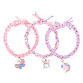 Claire's Club Spring Critter Braided Stretch Bracelets - 3 Pack,