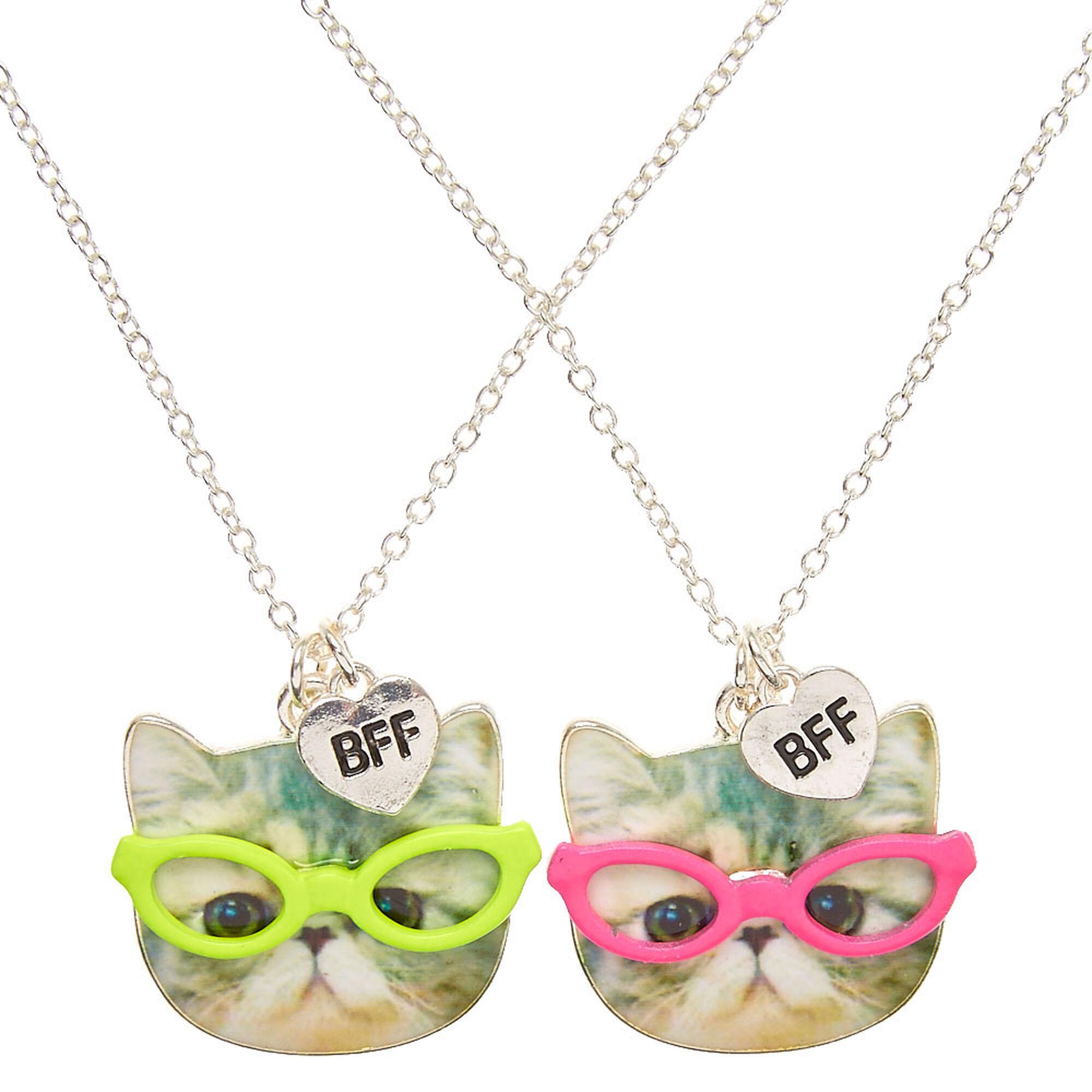 Face Pendant Best friends neon glasses cat face pendant necklaces claires us best friends neon glasses cat face pendant necklaces audiocablefo