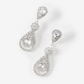 """Silver 1.5"""" Rhinestone Teardrop Drop Earrings,"""
