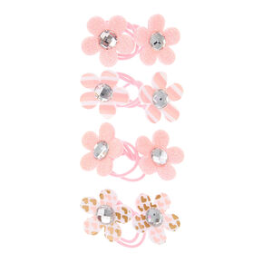 Claire's Club Flower Hair Ties - Pink, 4 Pack,
