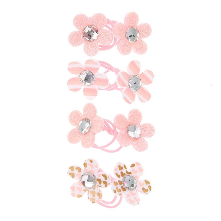 Claire's Club Flower Hair Ties - Pink, 4 Pack,