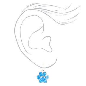 """Silver 0.5"""" Tie Dye Pawprint Drop Earrings - Blue,"""