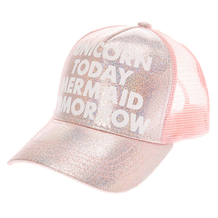 Unicorn Today Mermaid Tomorrow Trucker Hat - Pink,
