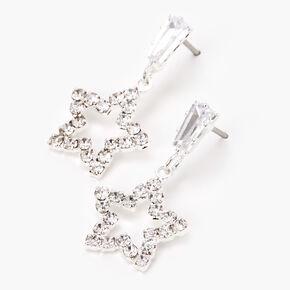 """Silver 1"""" Emerald Star Drop Earrings,"""
