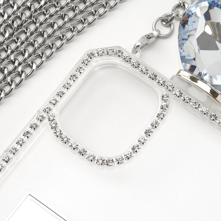 Silver Rhinestone Phone Case With Chain - Fits iPhone® 11,