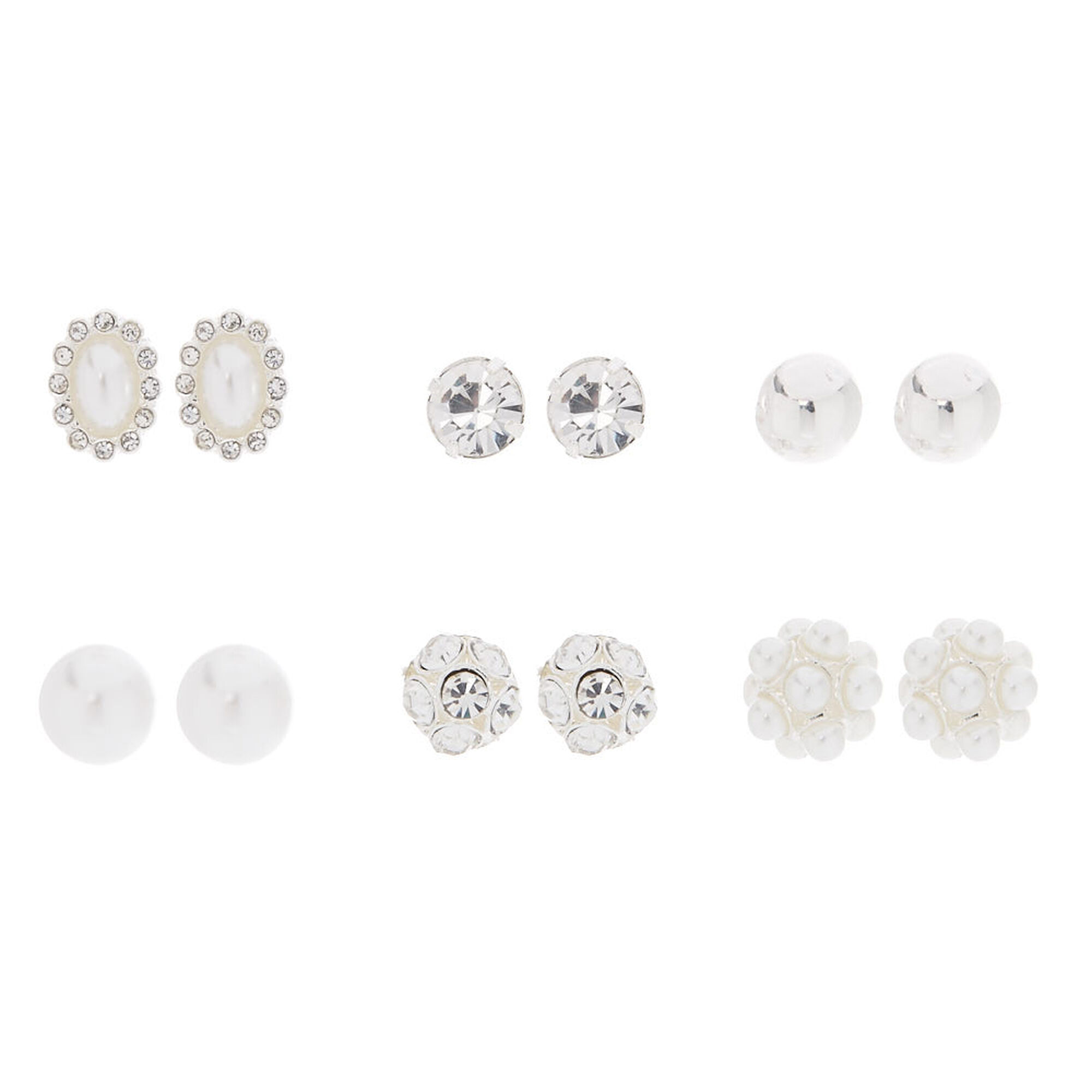 and s claire clear stud amp pearl glass faux earrings ball front back