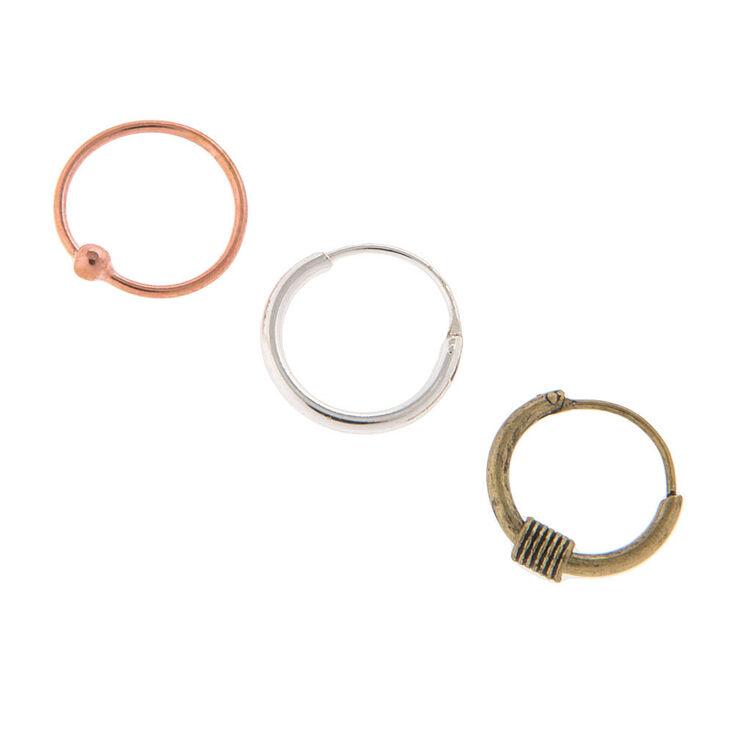 Sterling Silver 22G Mixed Metal Cartilage Hoop Earrings 3 ...