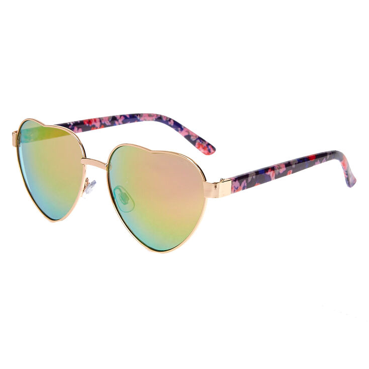 Floral Heart-Shaped Sunglasses,